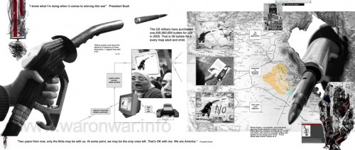 The directive for proposals for the eastInternational '05 exhibition, curated by Gustav Metzger was for work which could be transmitted across the airwaves, internet or television stations. We proposed the following:   War on War Room