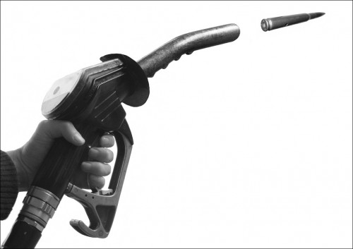 Petrol War, kennardphillipps,poster on newsprint,2005