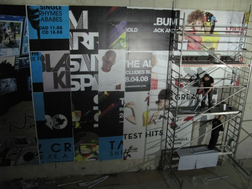we had to paste up a base layer of random billboard sheets, donated by a mate, Fibs helped us - thanks Fibs!