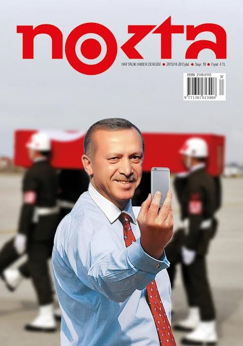 on the 13th September 2015 nokta magazine published with a cover image of turkish president Erdogan taking a selfie in front of the funeral parade of a turkish soldier killed in combat with the PKK - it was made in criticism of Erdogan's statement at the funeral of how happy the young man is now to have martyred himself in the fight against terrorism. The image is the latest take on the work we made in 2005 of Tony Blair which we call Photo Op. A journalist for the magazine contacted us on the 18th September to say that the nokta magazine's offices had been raided, the editor in chief arrested and all copies of the edition confiscated. She also said that the turkish authorities were going around the countries news stands confiscating any copies of this issue. She asked us for a statement and this is what we sent